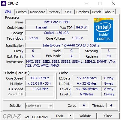 Captura de tela do funcionamento do Software CPU-Z